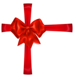 Red bow with crosswise ribbons vector