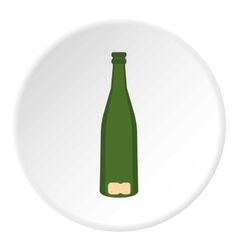 Empty glass bottle icon flat style vector