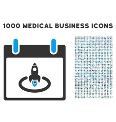 Rocket start calendar page icon with 1000 medical vector