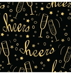 Christmas seamless background with champagne vector image