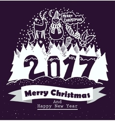 Merry christmas and happy new year typography vector