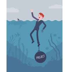 Businessman drowning chained with a weight project vector