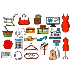 Shopping and retail sketch isolated icons vector