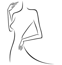 Abstract slim female outline vector