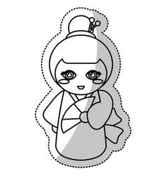 Kokeshi doll geisha traditional line vector
