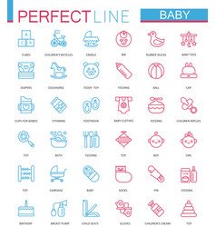 Baby care toys kid feeding color thin line web vector