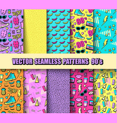 set seamless backgrounds vector image