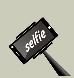 Selfie stick portrait photograph with digital vector