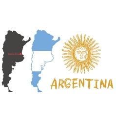 Argentina border shape flag and hand drawn sun vector