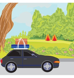 Traveling in a car vector