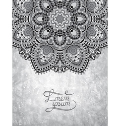 grey ornamental floral circle pattern with place vector image