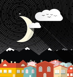 Night landscape with moon - mountains and houses vector