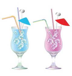 Blue and pink cocktails vector