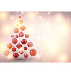 Christmas tree with red christmas balls vector