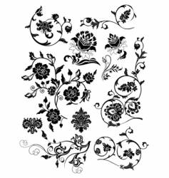 Set of design floral elements vector