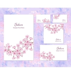 Template corporate identity with sakura vector