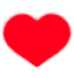Sprayed red graffiti heart over white vector