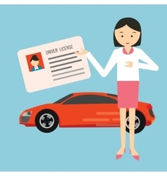 Woman holding show driver driving license in front vector