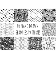 Hand drawn polka dot patterns collection vector