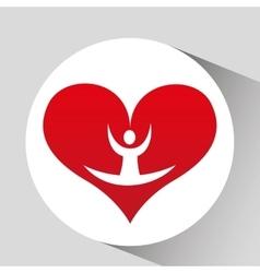 Athlete silhouette flexible heart beat vector