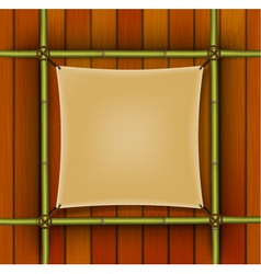 Bamboo frame with parchment banner vector image