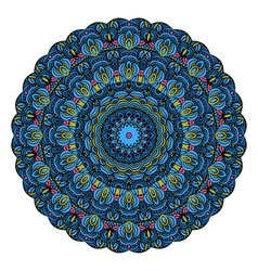 Blue Mandala Round Zentangle Pattern vector image vector image
