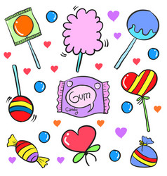 candy various food doodle style collection vector image vector image