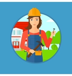 Cheerful builder with hammer vector image