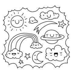 cute sky doodle vector image vector image