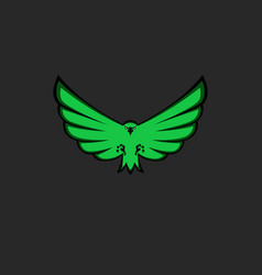 Eagle mascot emblem of green color for esport team vector