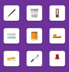 flat icon stationery set of trashcan pushpin nib vector image vector image