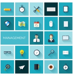 Flat management set of icons Business and vector image