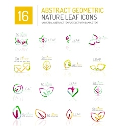 Geometric leaf icon set vector image