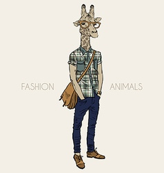 Hand drawn of giraffe hipster vector