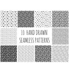 Hand drawn polka dot patterns collection vector