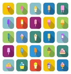 Ice cream color icons with long shadow vector