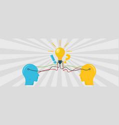 idea in brain banner flat style vector image vector image
