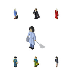 Isometric people set of hostess housemaid vector