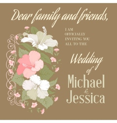 Marriage invitation with gibiscus vector