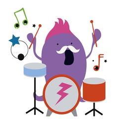 Monster drummer character vector