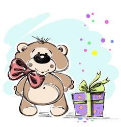 Nice little bear cub with a gift vector