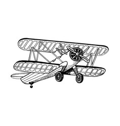 old airplane biplane engraving vector image vector image