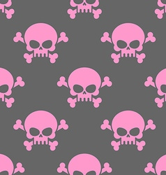 Pink skull on a grey background seamless pattern vector image vector image