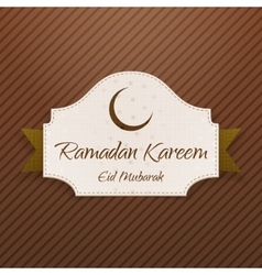 Ramadan kareem eid mubarak paper card with ribbon vector