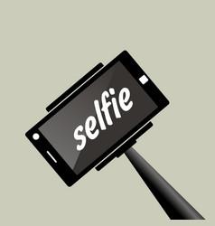Selfie stick portrait photograph with digital vector