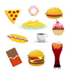 set harmful foods chocolate and cola hamburger vector image vector image