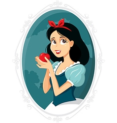 Snow white holding apple vector
