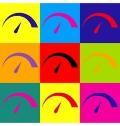 Speedometer sign pop-art style icons set vector