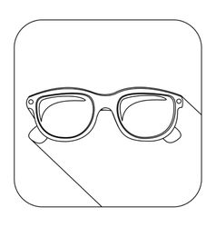 Square shape with silhouette oval glasses lens vector