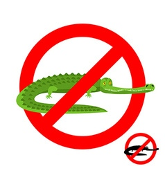 Stop crocodile Prohibited alligator Strikethrough vector image